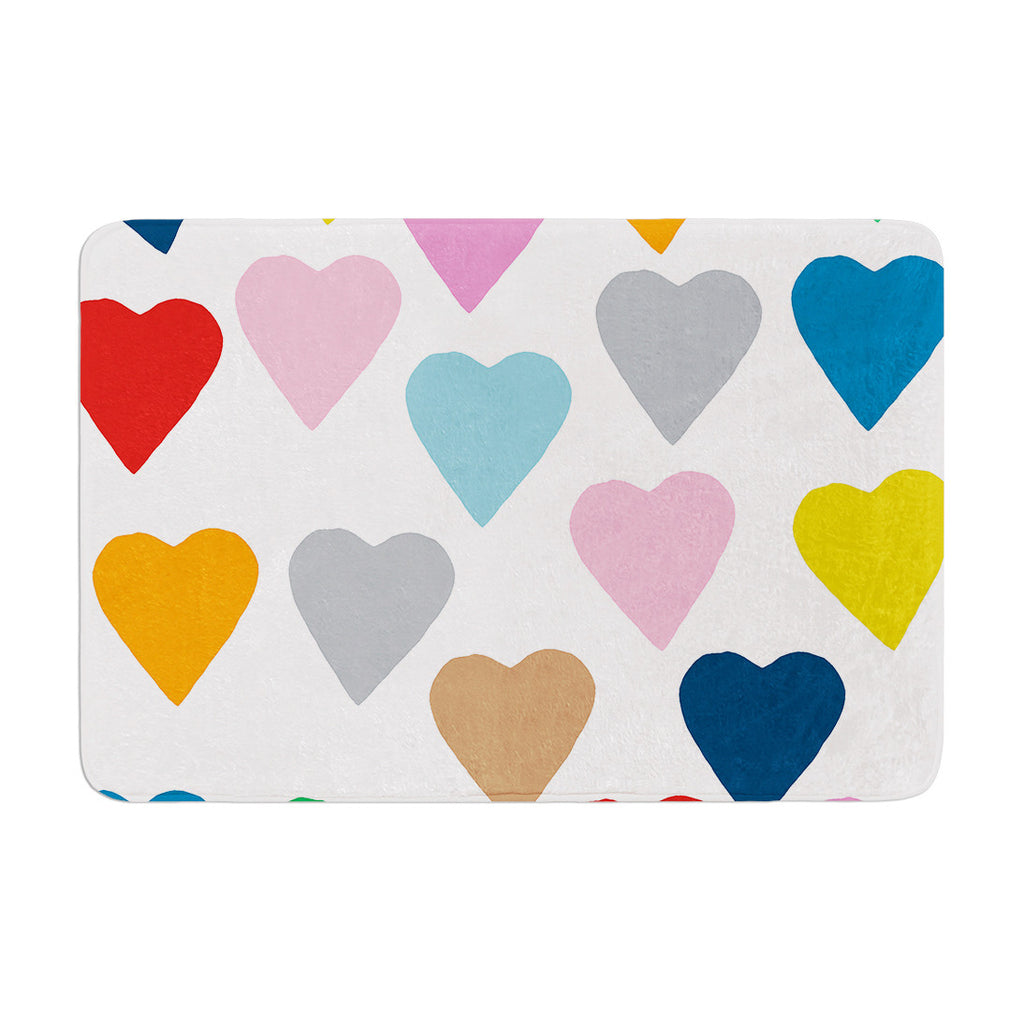 "Project M ""Colorful Hearts"" Memory Foam Bath Mat - KESS InHouse"