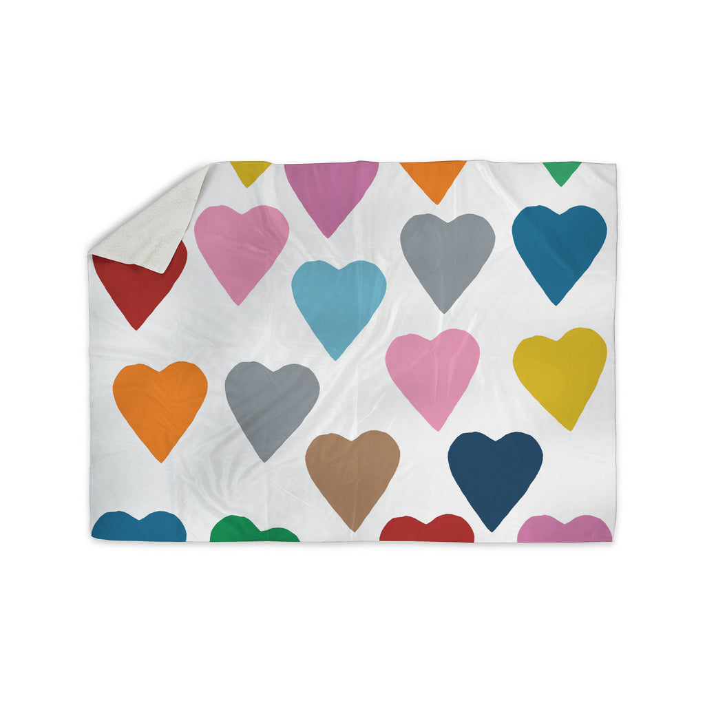 "Project M ""Colorful Hearts"" Sherpa Blanket - KESS InHouse  - 1"
