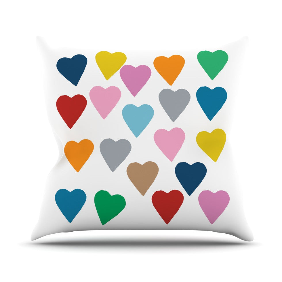 "Project M ""Colorful Hearts"" Outdoor Throw Pillow - KESS InHouse  - 1"