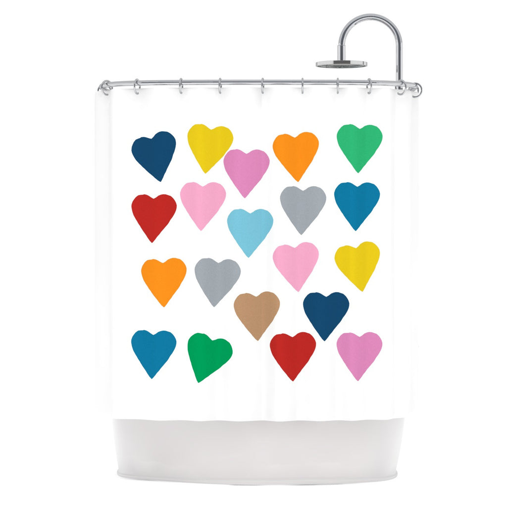 "Project M ""Colorful Hearts"" Shower Curtain - KESS InHouse"