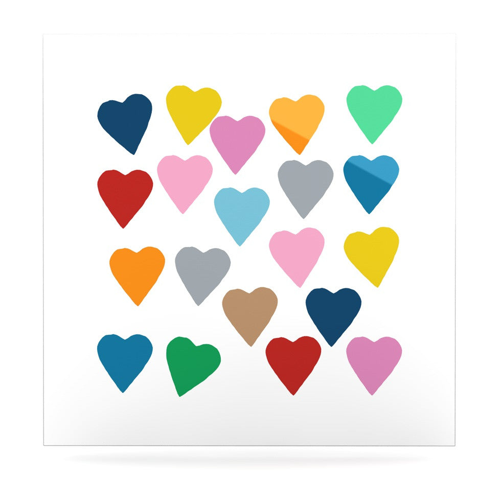 "Project M ""Colorful Hearts"" Luxe Square Panel - KESS InHouse  - 1"
