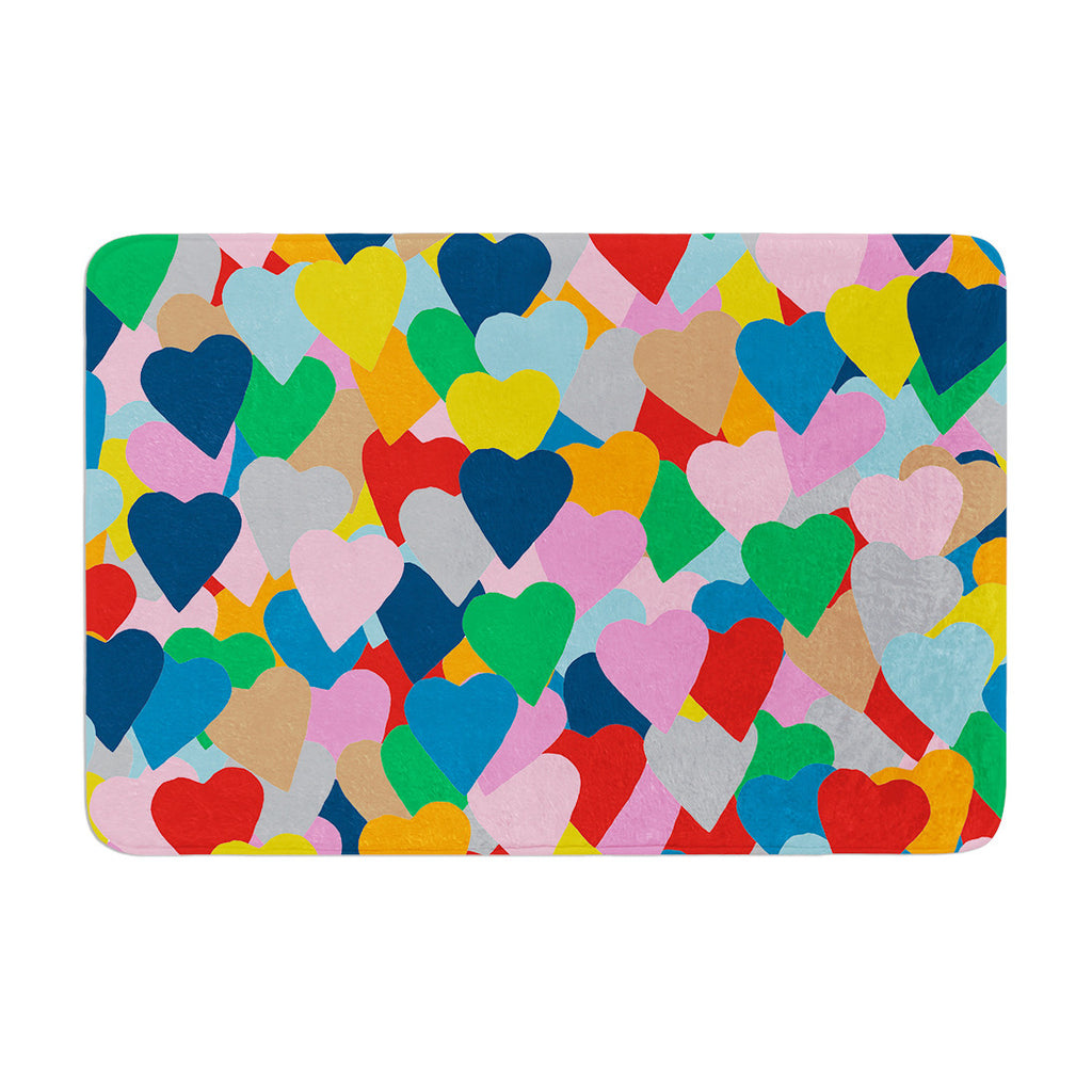 "Project M ""More Hearts"" Memory Foam Bath Mat - KESS InHouse"