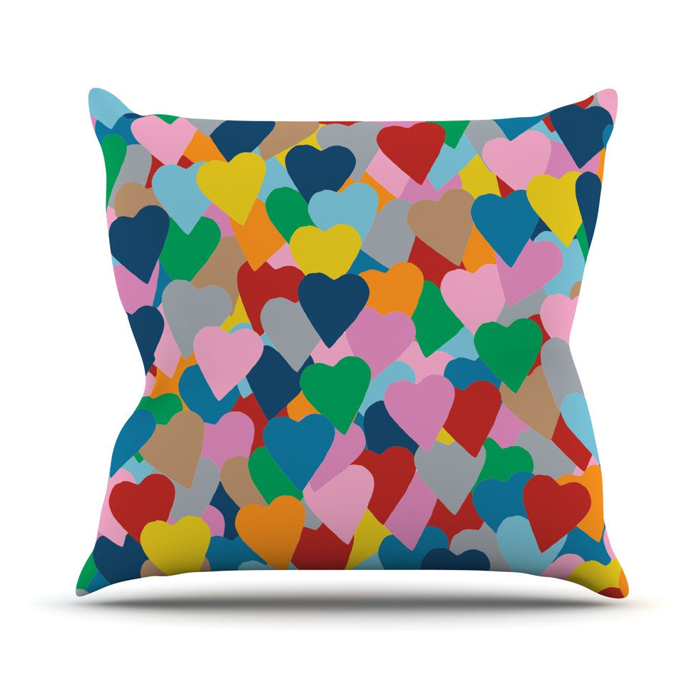 "Project M ""More Hearts"" Outdoor Throw Pillow - KESS InHouse  - 1"