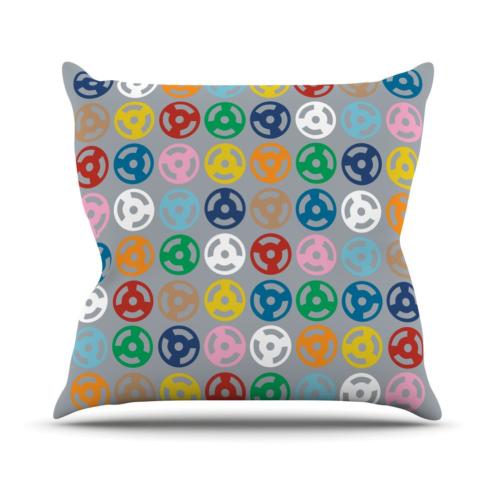 "Project M ""Roll with it on Grey"" Outdoor Throw Pillow - KESS InHouse  - 1"