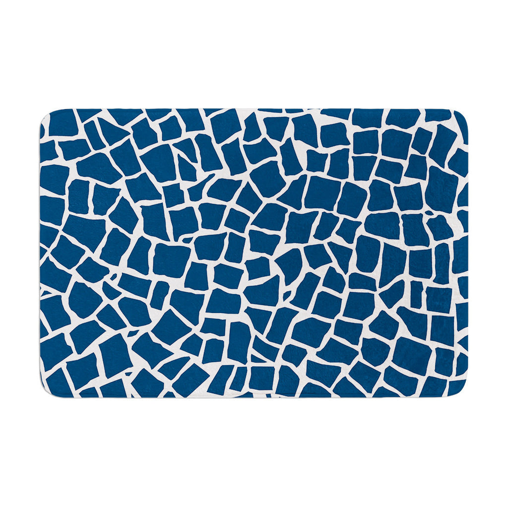 "Project M ""British Mosaic Navy"" Memory Foam Bath Mat - KESS InHouse"