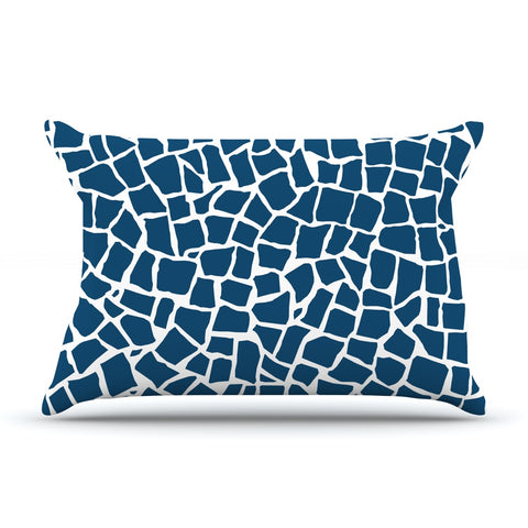 "Project M ""British Mosaic Navy"" Pillow Case - KESS InHouse  - 1"
