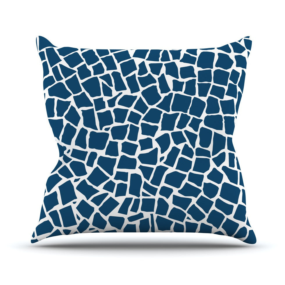 "Project M ""British Mosaic Navy"" Outdoor Throw Pillow - KESS InHouse  - 1"