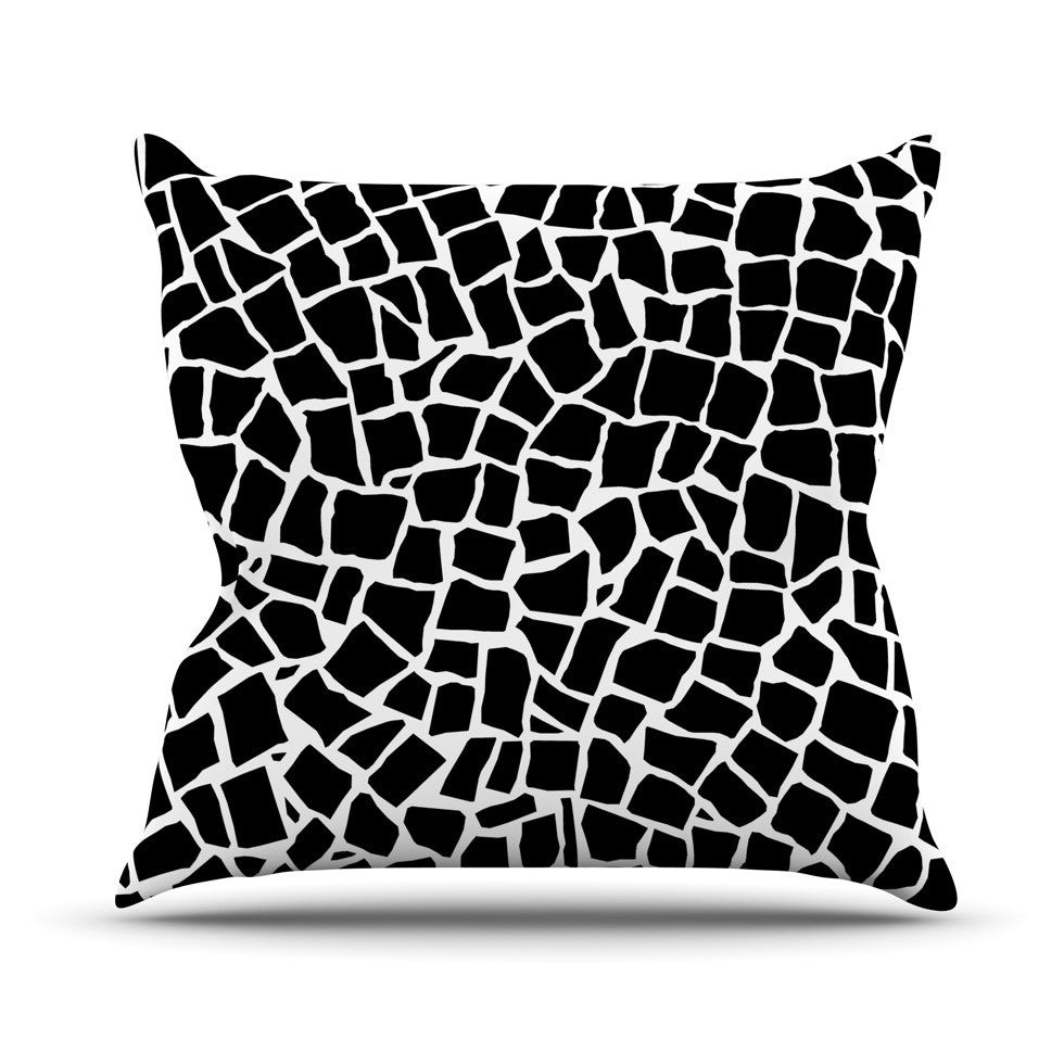 "Project M ""British Mosaic Black"" Outdoor Throw Pillow - KESS InHouse  - 1"