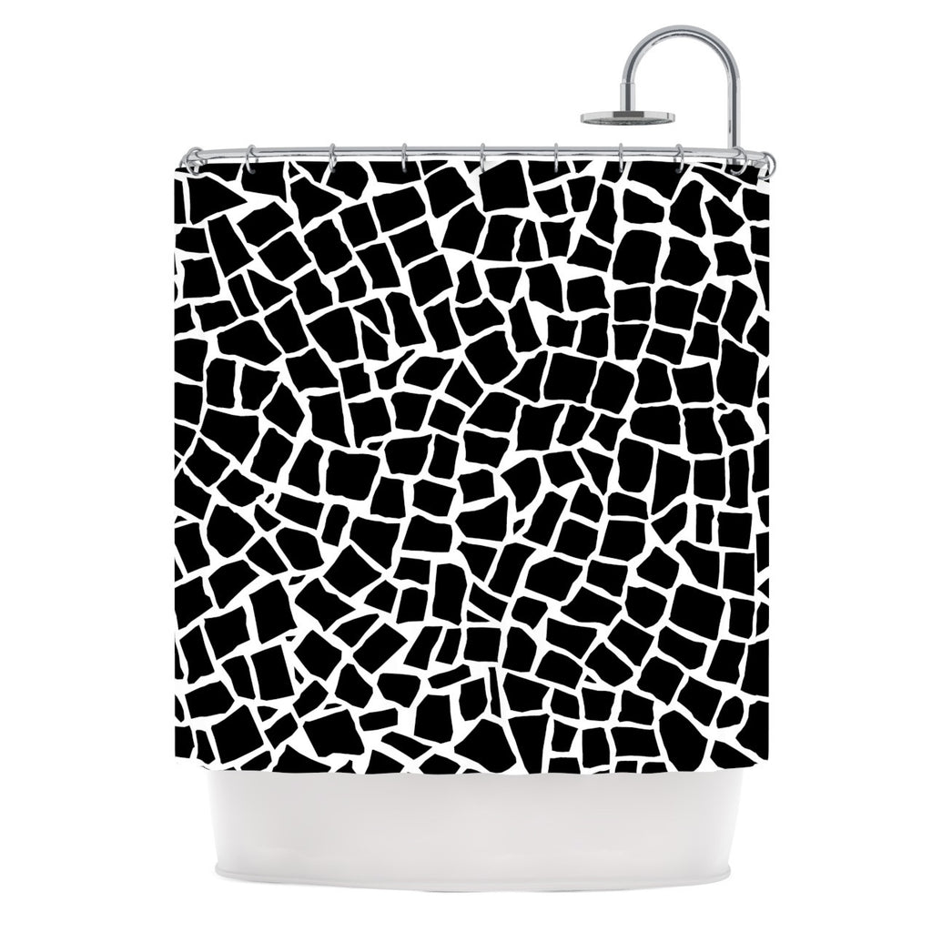 "Project M ""British Mosaic Black"" Shower Curtain - KESS InHouse"