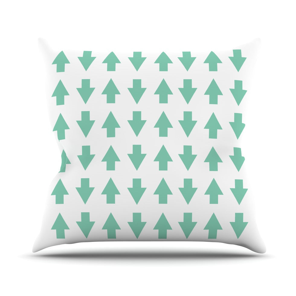 "Project M ""Arrows Up and Down Mint"" Outdoor Throw Pillow - KESS InHouse  - 1"