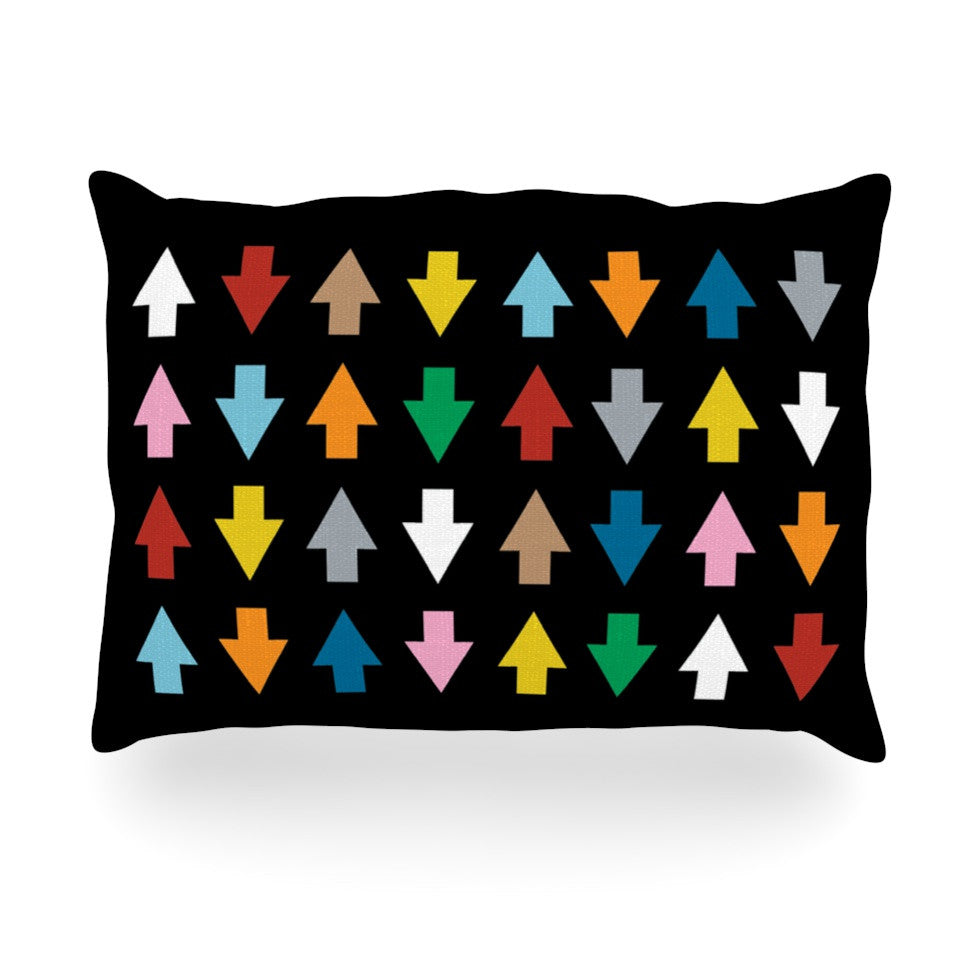 "Project M ""Arrows Up and Down Black"" Oblong Pillow - KESS InHouse"