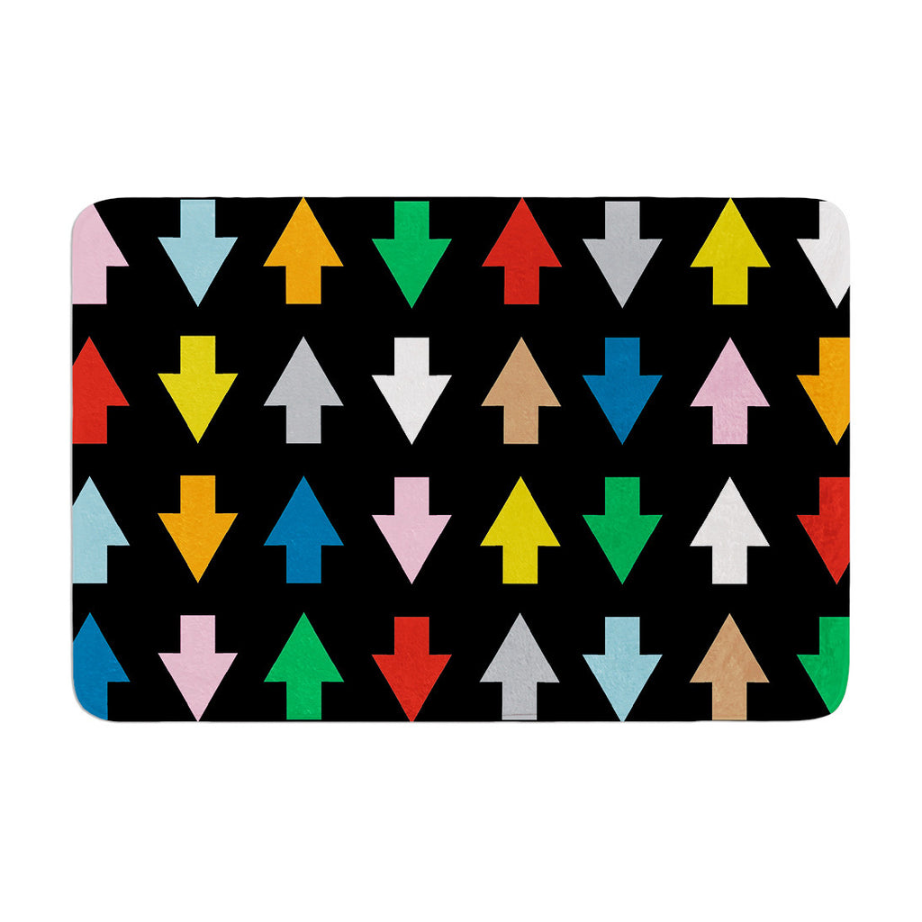 "Project M ""Arrows Up and Down Black"" Memory Foam Bath Mat - KESS InHouse"