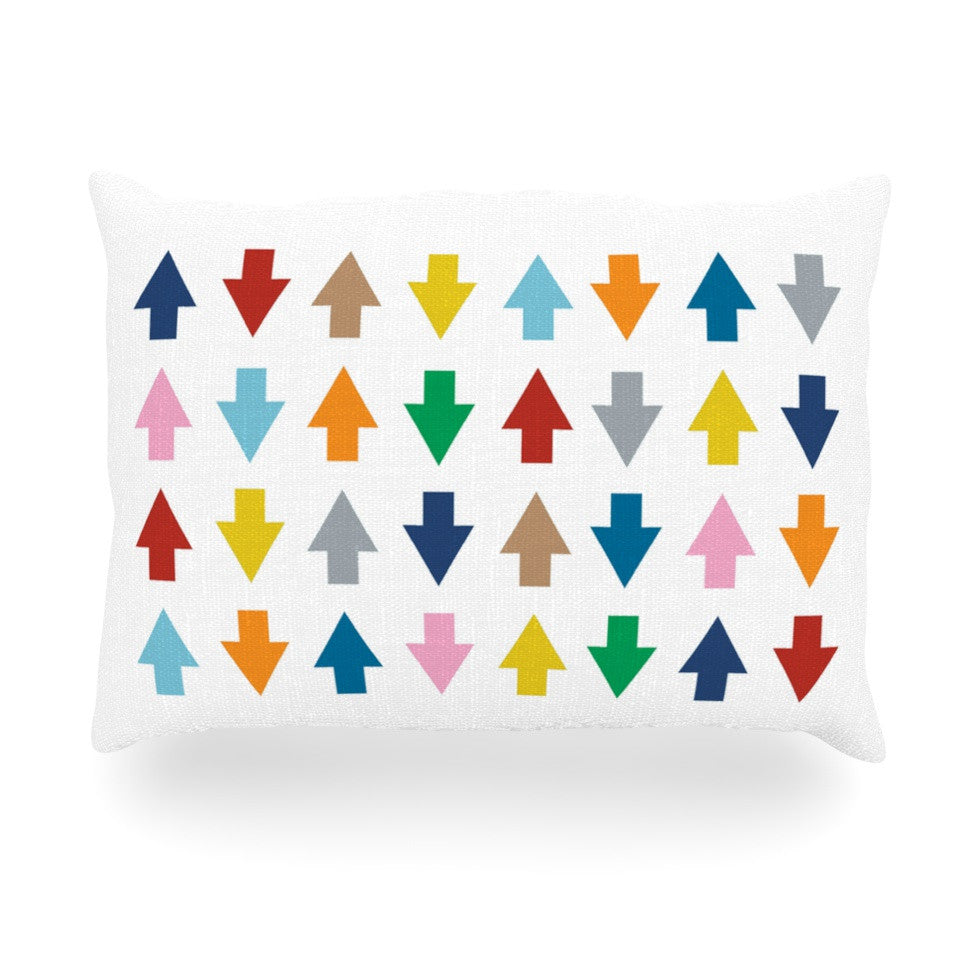 "Project M ""Arrows Up and Down White"" Oblong Pillow - KESS InHouse"