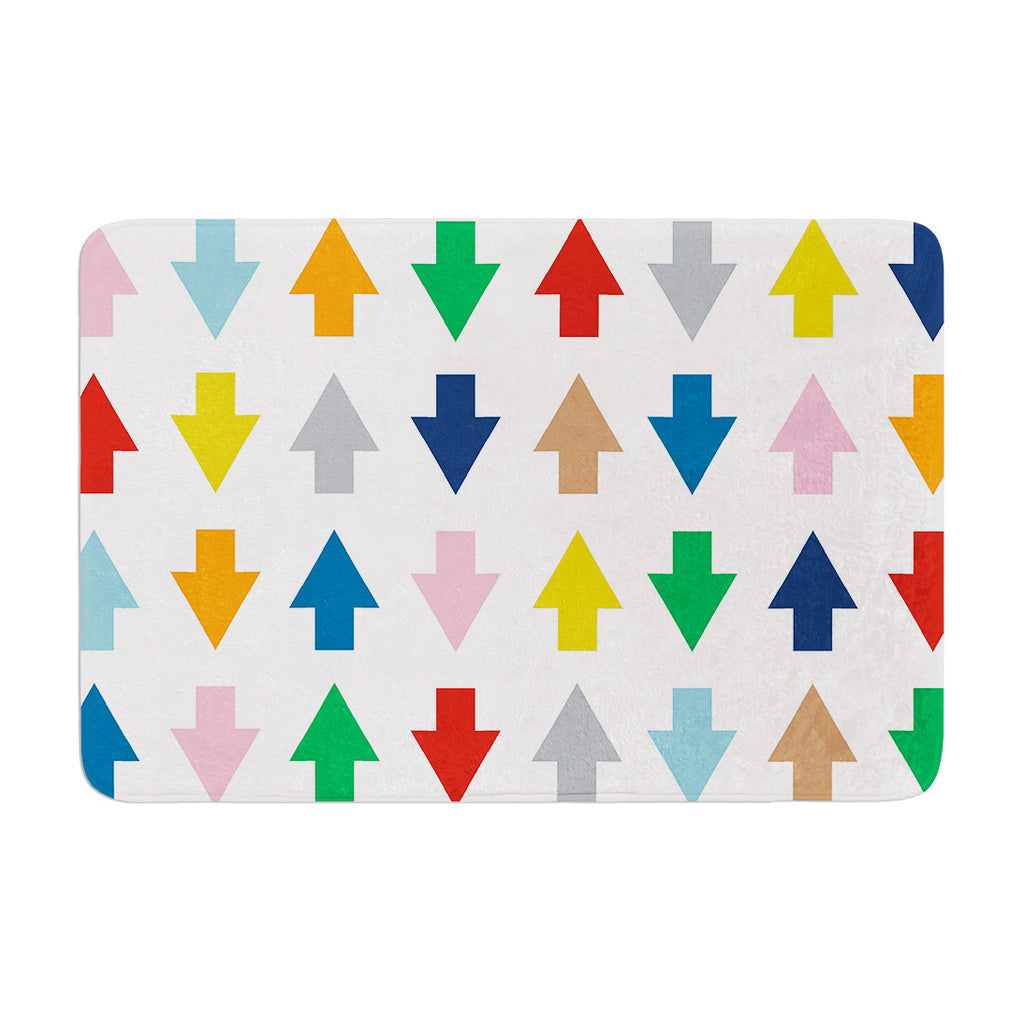 "Project M ""Arrows Up and Down White"" Memory Foam Bath Mat - KESS InHouse"