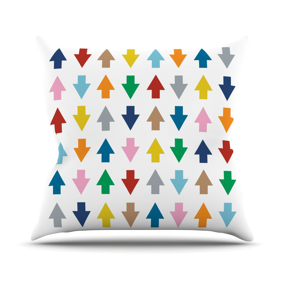 "Project M ""Arrows Up and Down White"" Outdoor Throw Pillow - KESS InHouse  - 1"