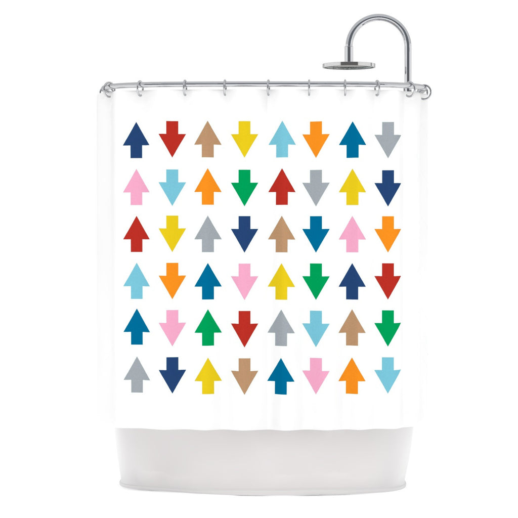 "Project M ""Arrows Up and Down White"" Shower Curtain - KESS InHouse"
