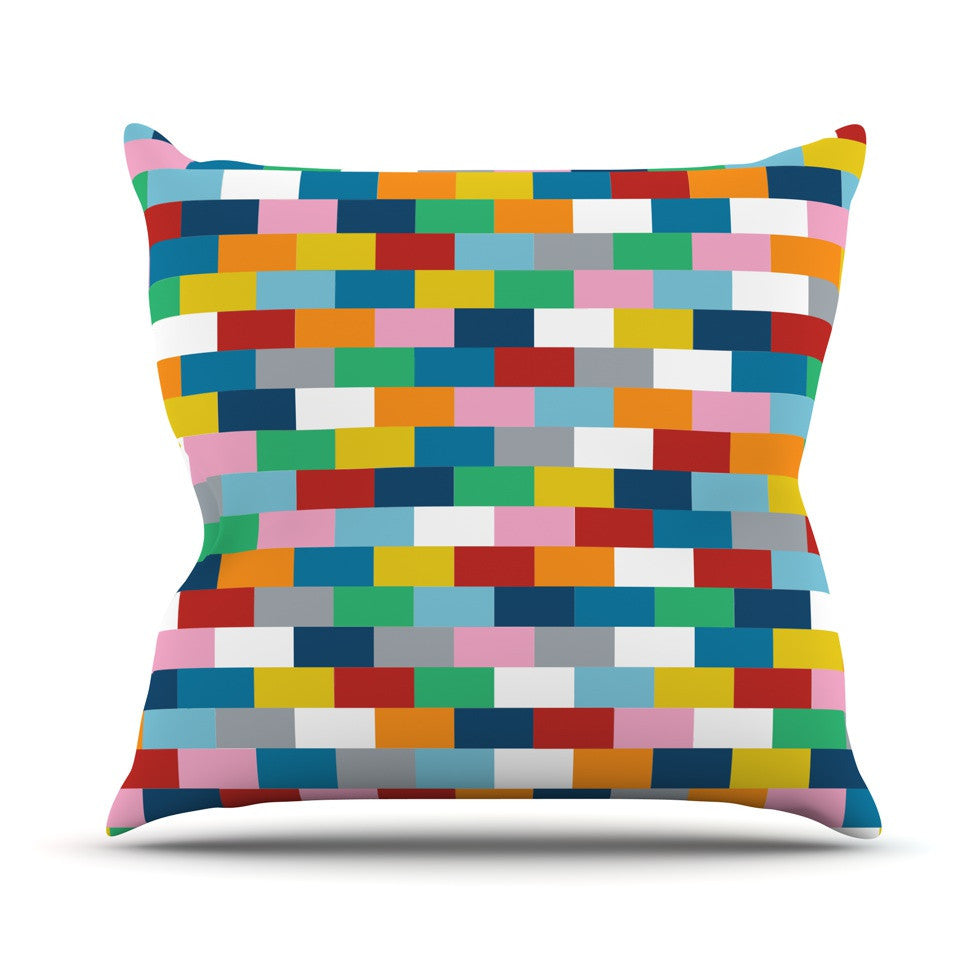 "Project M ""Bricks"" Outdoor Throw Pillow - KESS InHouse  - 1"