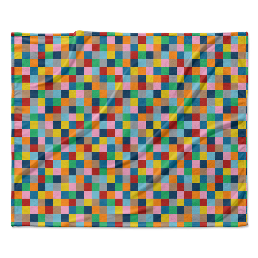 "Project M ""Colour Blocks"" Geometric Rainbow Fleece Throw Blanket"