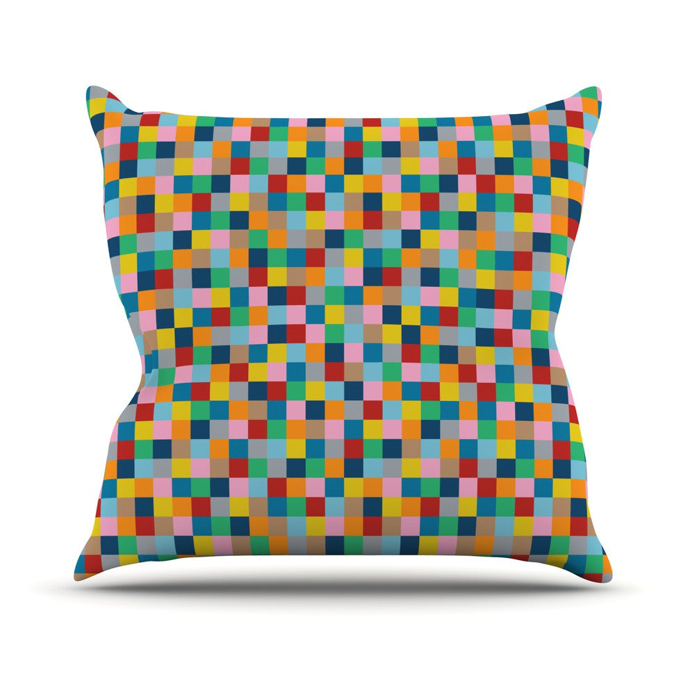 "Project M ""Colour Blocks"" Geometric Rainbow Outdoor Throw Pillow - KESS InHouse  - 1"