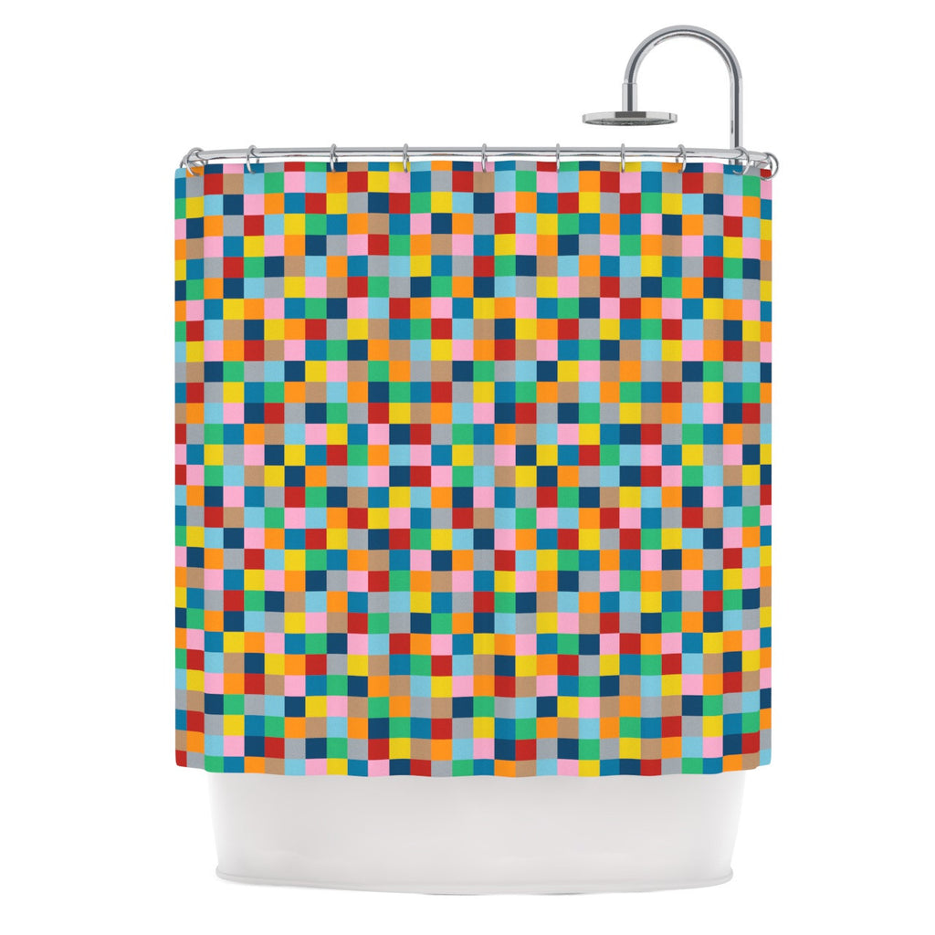 "Project M ""Colour Blocks"" Geometric Rainbow Shower Curtain - KESS InHouse"