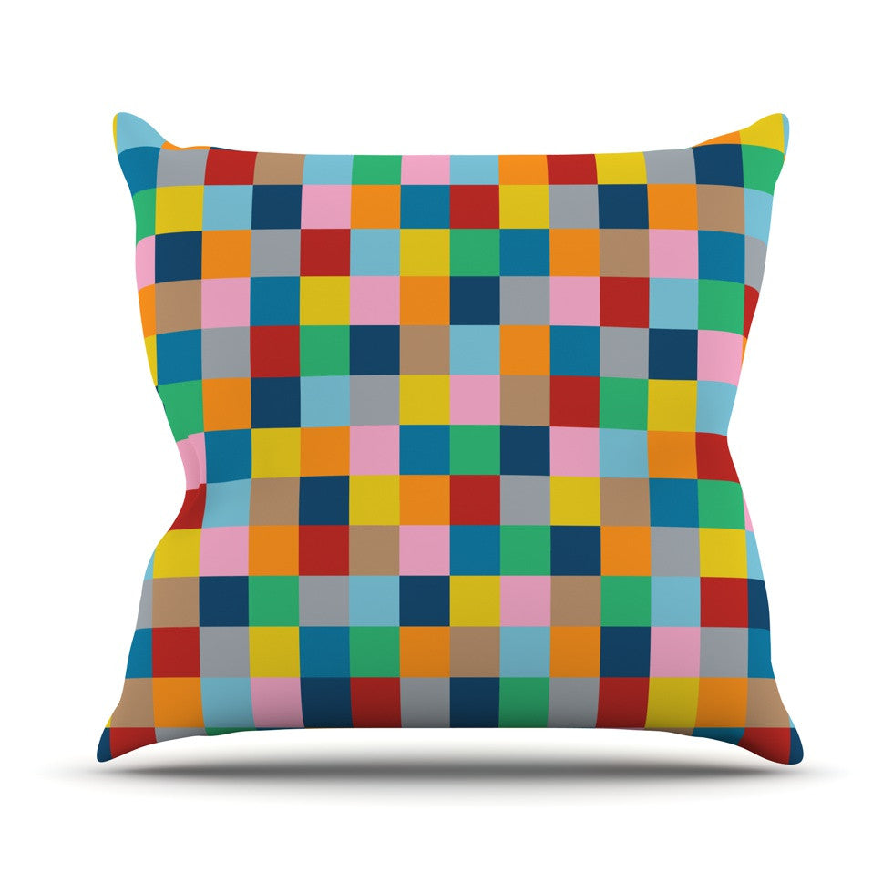 "Project M ""Colour Blocks Zoom"" Geometric Rainbow Outdoor Throw Pillow - KESS InHouse  - 1"