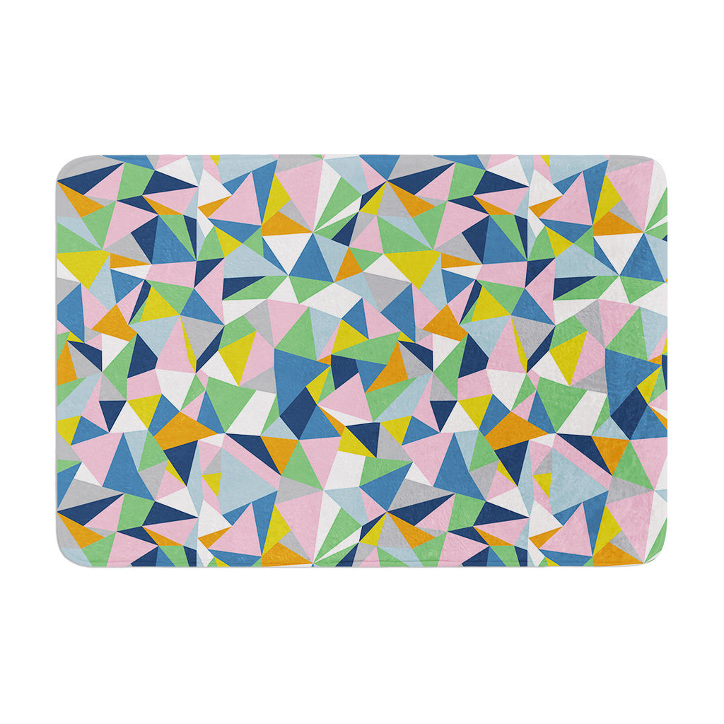 "Project M ""Abstraction Pink"" Rainbow Abstract Memory Foam Bath Mat - KESS InHouse"