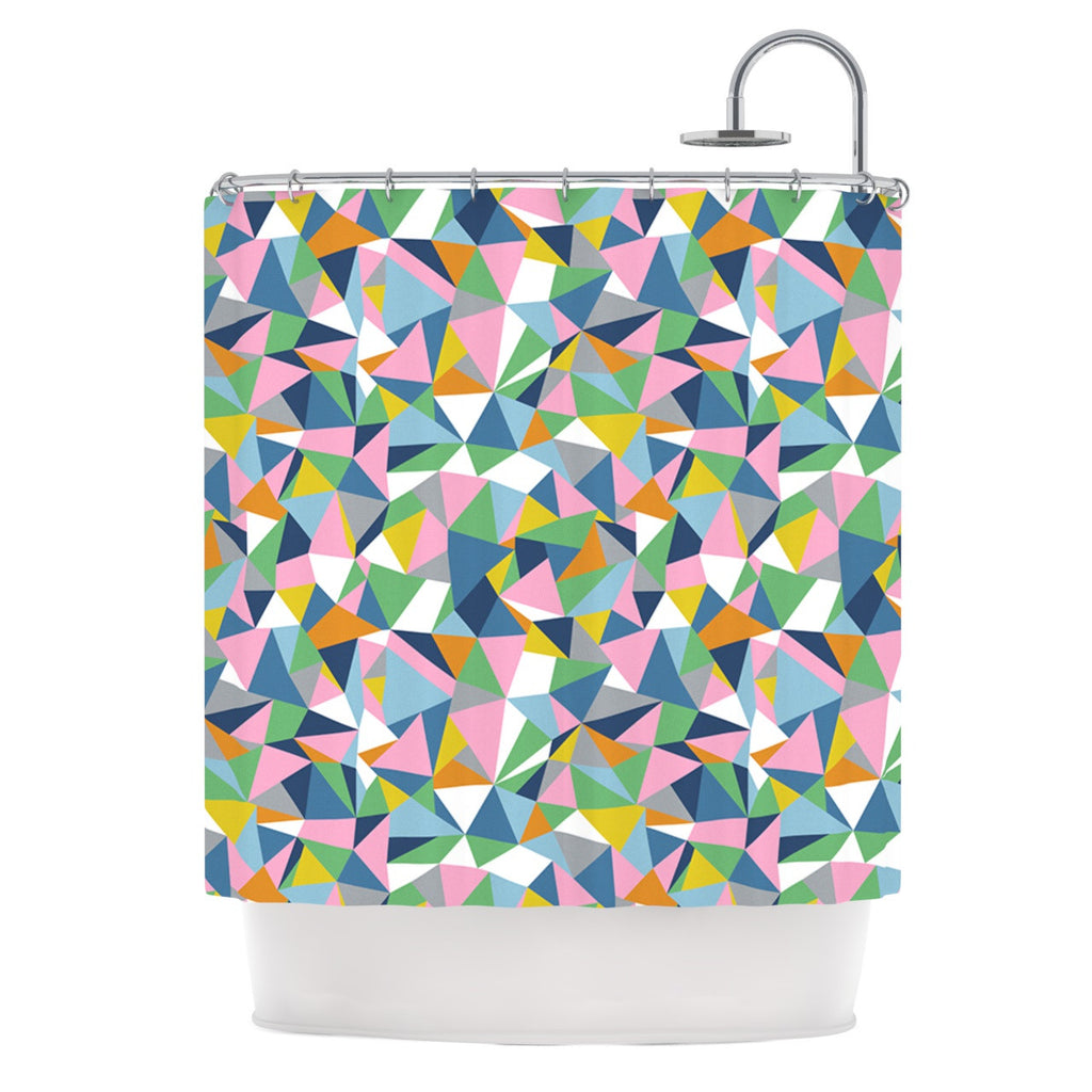 "Project M ""Abstraction Pink"" Rainbow Abstract Shower Curtain - KESS InHouse"