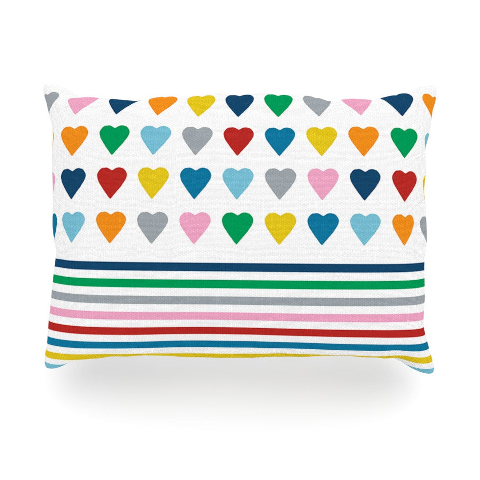 "Project M ""Heart Stripes"" Rainbow Shapes Oblong Pillow - KESS InHouse"
