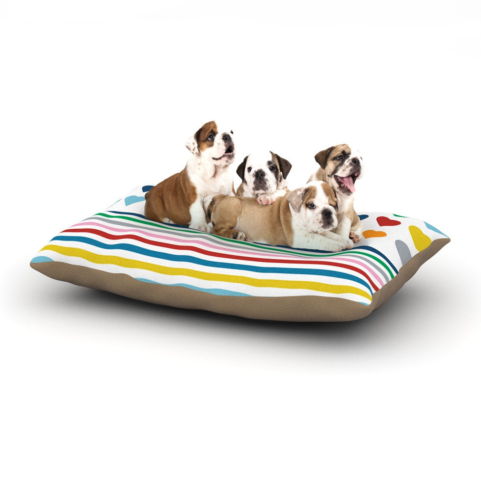"Project M ""Heart Stripes"" Rainbow Shapes Dog Bed - KESS InHouse  - 1"