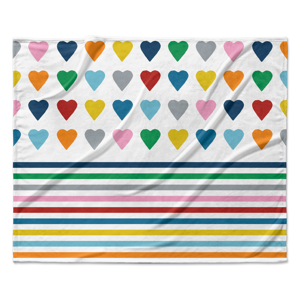 "Project M ""Heart Stripes"" Rainbow Shapes Fleece Throw Blanket"