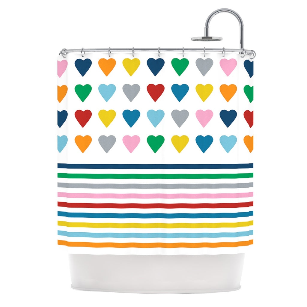 "Project M ""Heart Stripes"" Rainbow Shapes Shower Curtain - KESS InHouse"