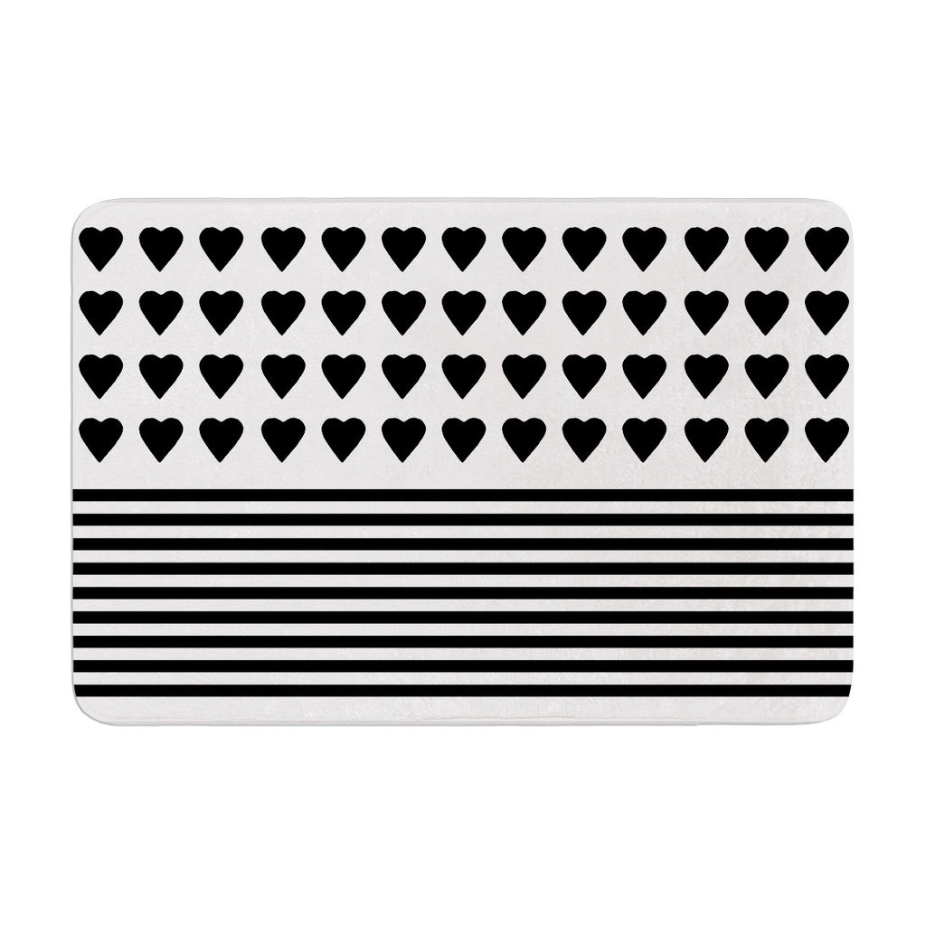 "Project M ""Heart Stripes Black and White"" Monochrome Lines Memory Foam Bath Mat - KESS InHouse"