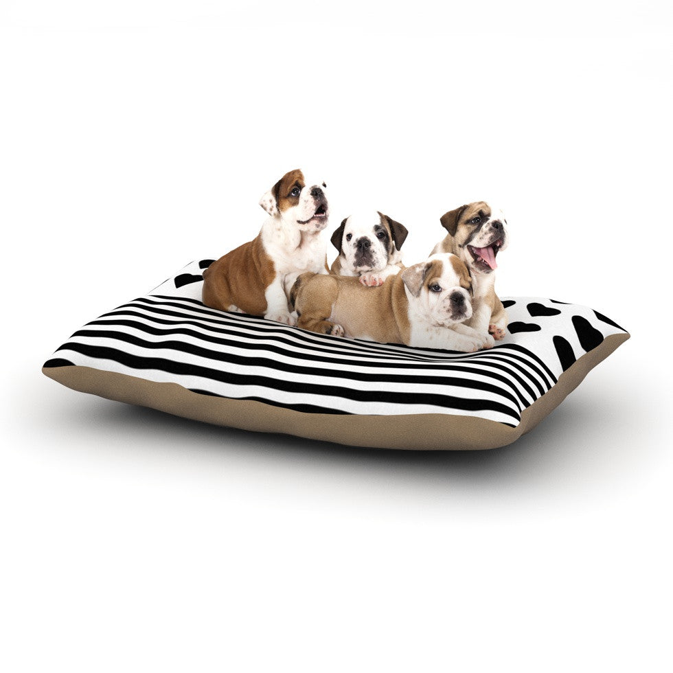 "Project M ""Heart Stripes Black and White"" Monochrome Lines Dog Bed - KESS InHouse  - 1"