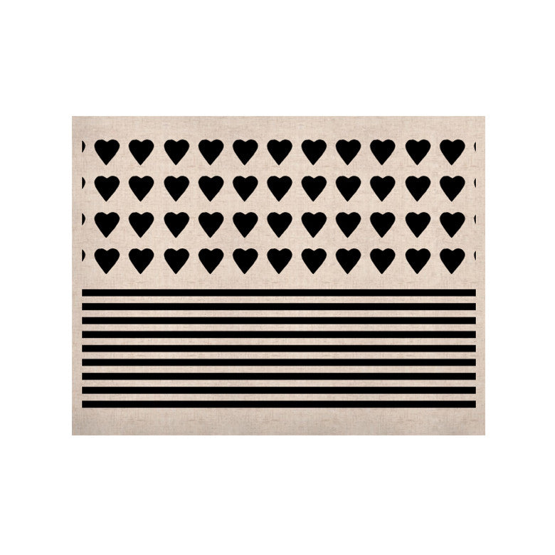 "Project M ""Heart Stripes Black and White"" Monochrome Lines KESS Naturals Canvas (Frame not Included) - KESS InHouse  - 1"