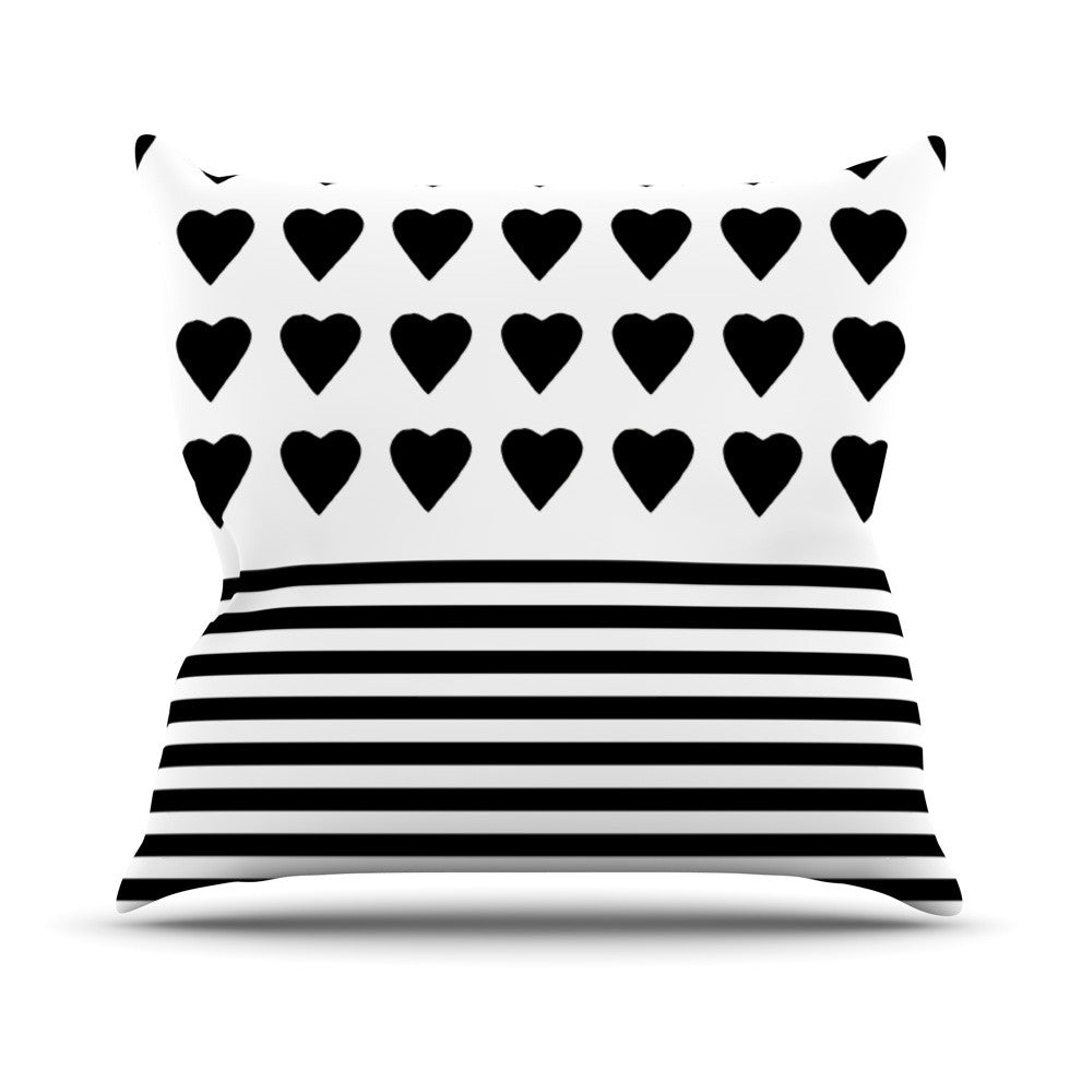 "Project M ""Heart Stripes Black and White"" Monochrome Lines Outdoor Throw Pillow - KESS InHouse  - 1"