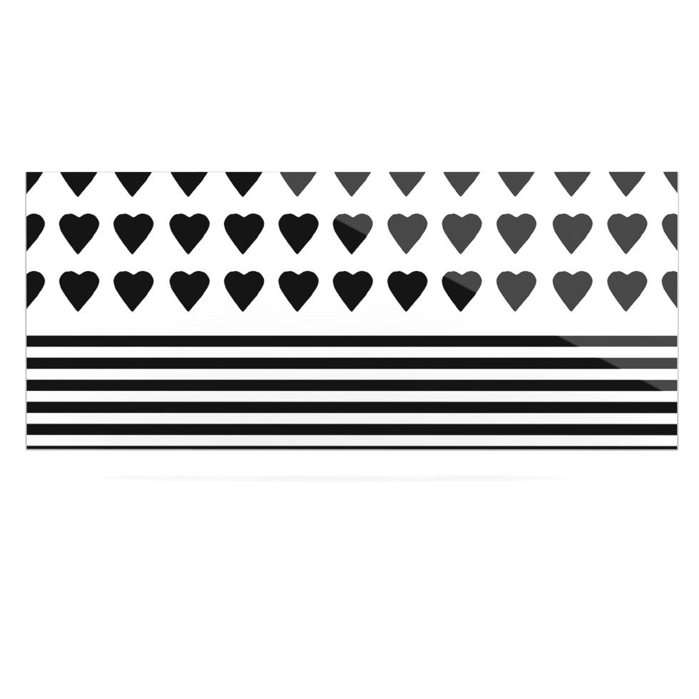 "Project M ""Heart Stripes Black and White"" Monochrome Lines Luxe Rectangle Panel - KESS InHouse  - 1"