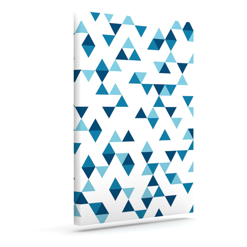 "Project M ""Triangles Blue"" Navy White Outdoor Canvas Wall Art - KESS InHouse  - 1"