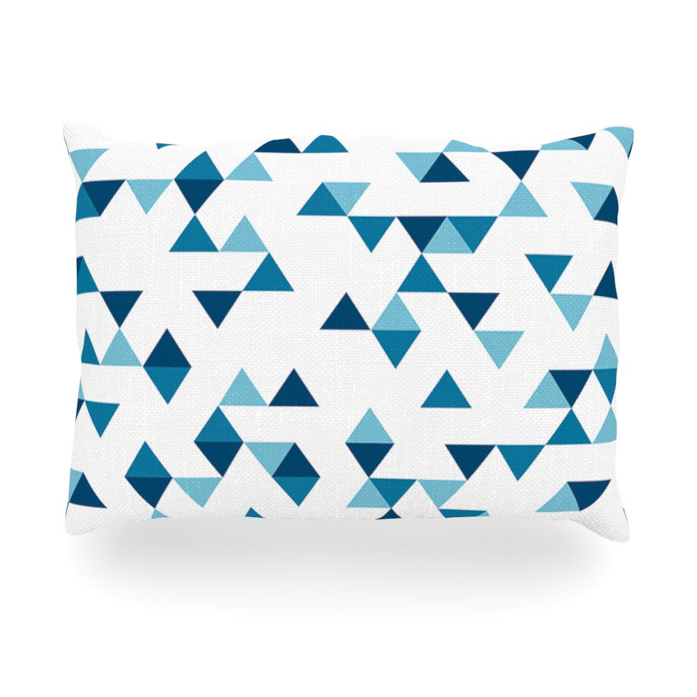 "Project M ""Triangles Blue"" Navy White Oblong Pillow - KESS InHouse"