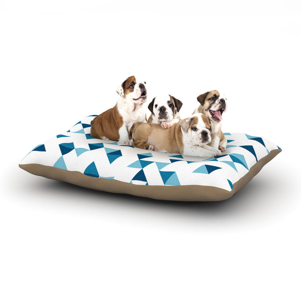 "Project M ""Triangles Blue"" Navy White Dog Bed - KESS InHouse  - 1"
