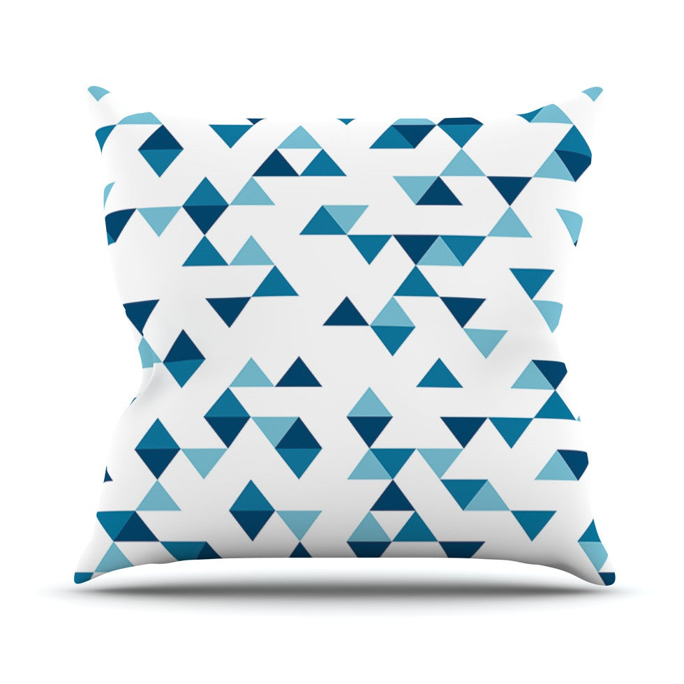Triangles Blue Outdoor Throw Pillow By Project M Kess Inhouse