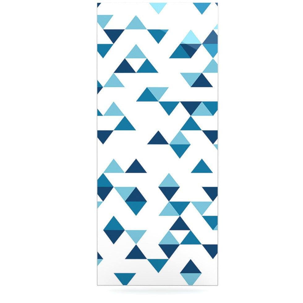"Project M ""Triangles Blue"" Navy White Luxe Rectangle Panel - KESS InHouse  - 1"