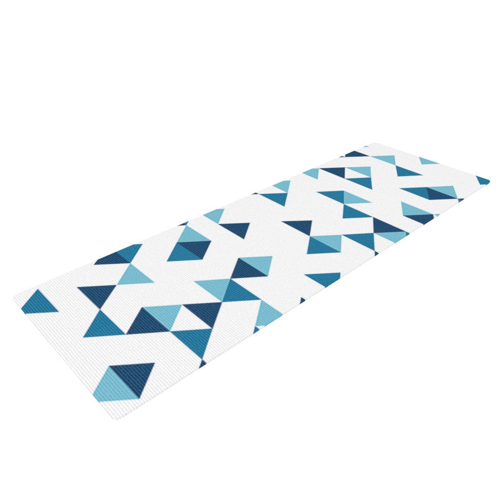"Project M ""Triangles Blue"" Navy White Yoga Mat - KESS InHouse  - 1"
