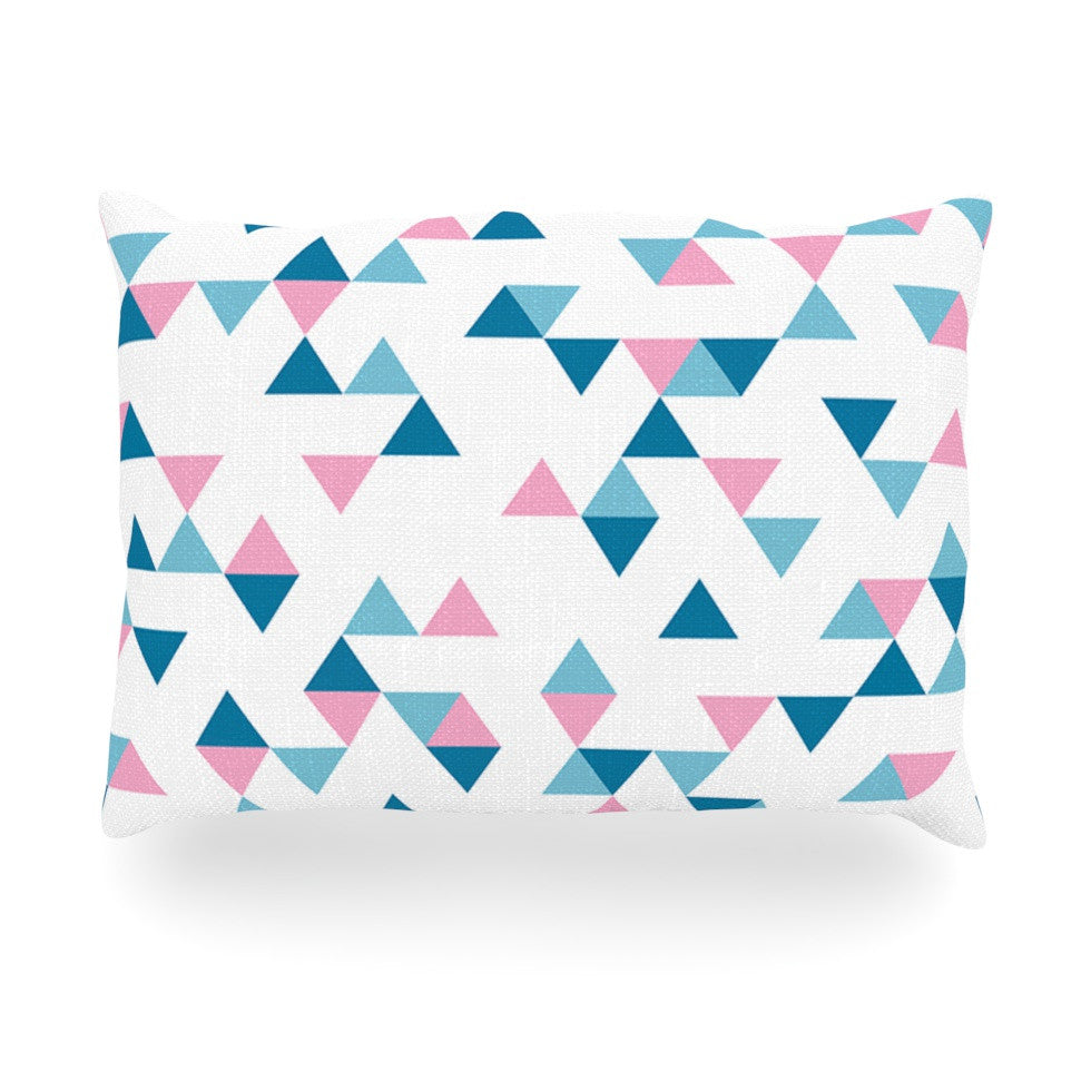 "Project M ""Triangles Pink"" Blush Blue Oblong Pillow - KESS InHouse"