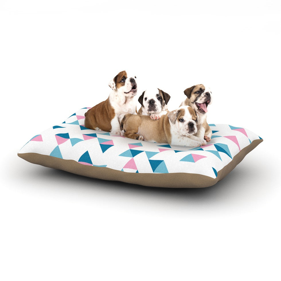 "Project M ""Triangles Pink"" Blush Blue Dog Bed - KESS InHouse"