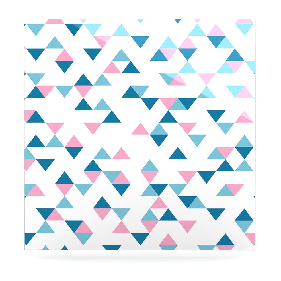 "Project M ""Triangles Pink"" Blush Blue Luxe Square Panel - KESS InHouse"