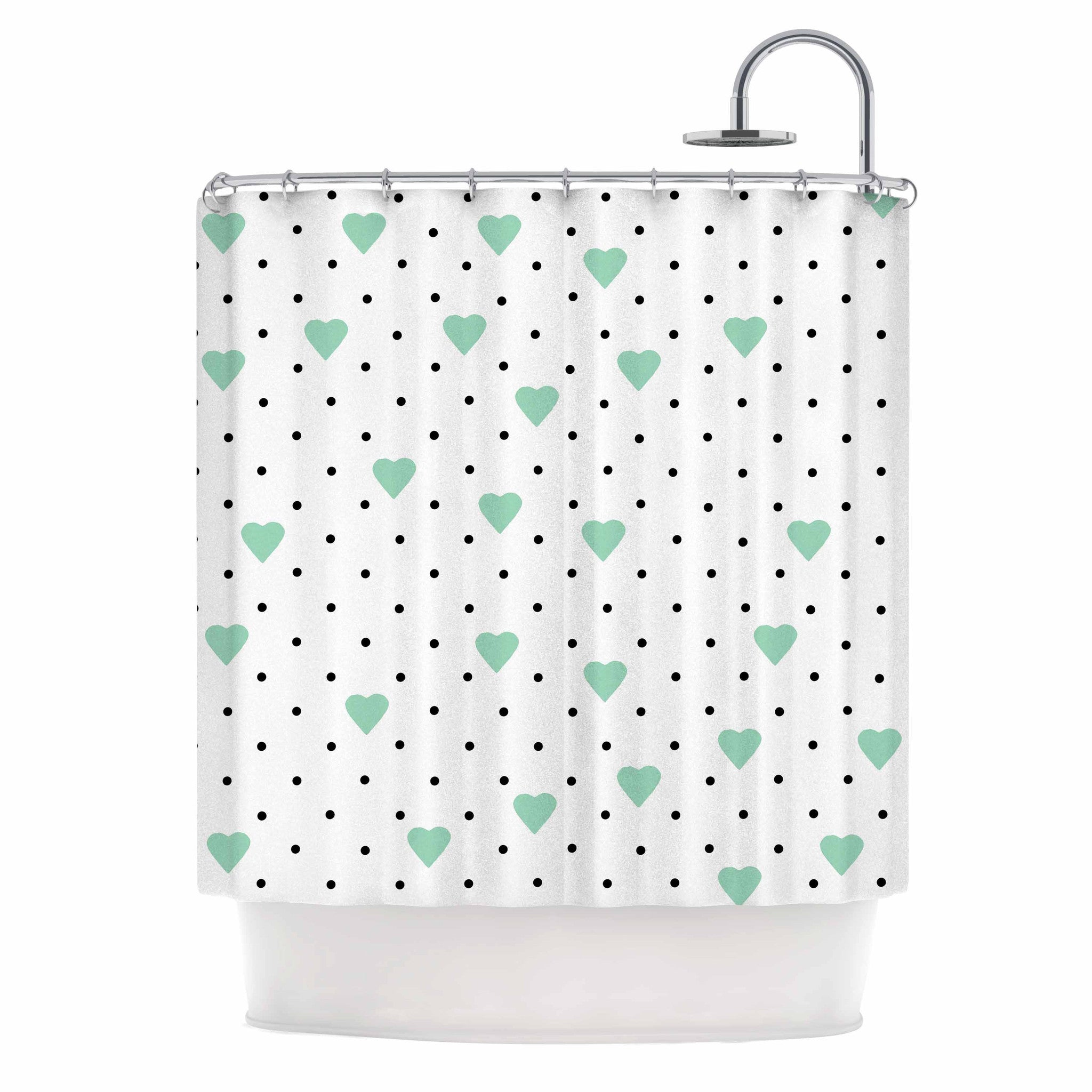 Project M Pin Point Polka Dot Mint Green White Shower Curtain - Mint green shower curtain