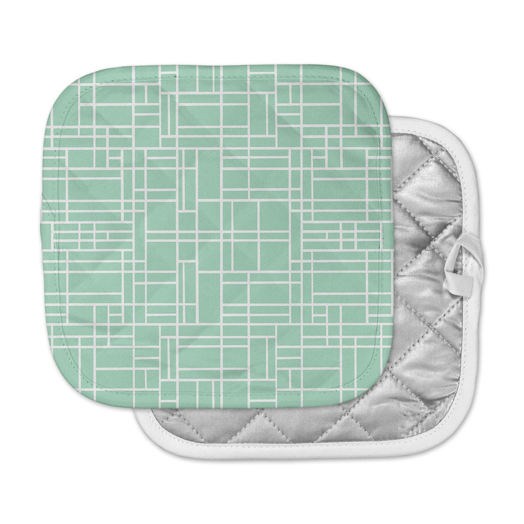 "Project M ""Map Outline Mint"" Geometric Lines Pot Holder"