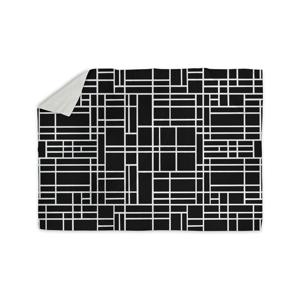 "Project M ""Map Outline Black"" Simple Geometric Sherpa Blanket - KESS InHouse  - 1"