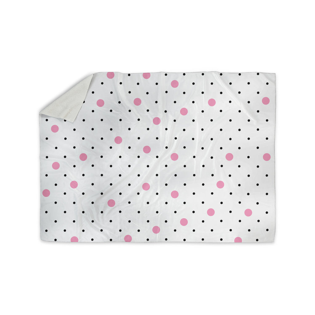 "Project M ""Pin Points Polka Dot Pink"" Pink Black Sherpa Blanket - KESS InHouse  - 1"