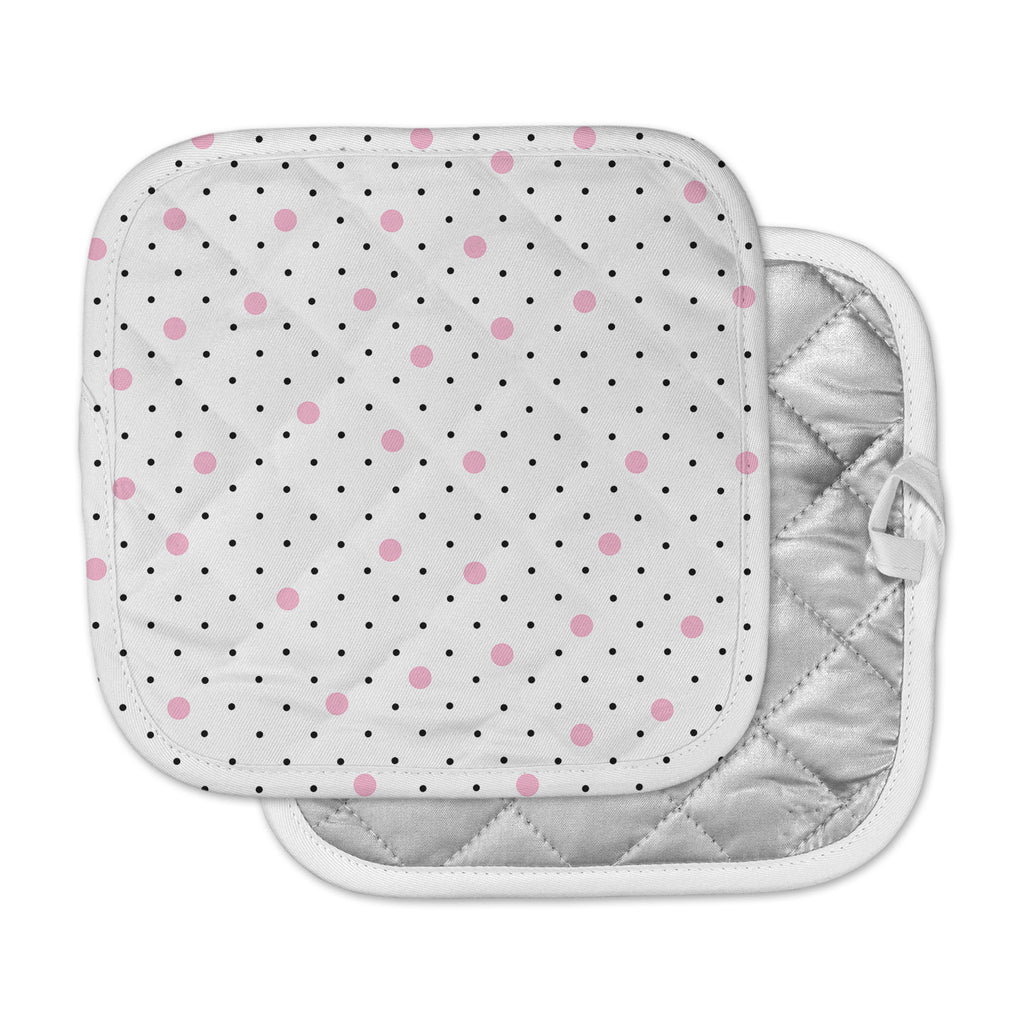 "Project M ""Pin Points Polka Dot Pink"" Pink Black Pot Holder"